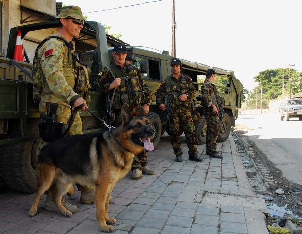Corporal David Wells and MAXIMUS with NZ personnel in East Timor 2008