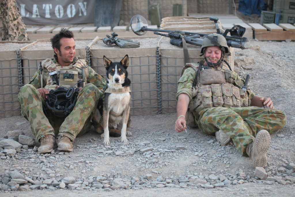 Sapper Darren Smith, EDD HERBIE and Sapper Jacob Moerland good mates share a moment. Shortly after this picture was taken, all three were lost to a roadside bomb.